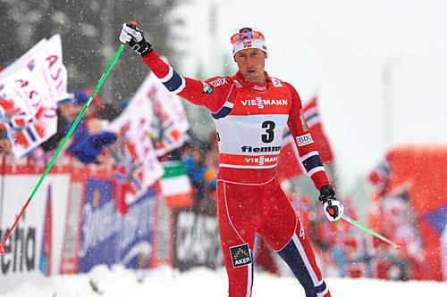 Chris Jespersen gikk en fremragende etappe opp Alpe Cermis og ble nummer to sammenlagt i Tour de Ski 2013/2014. Foto: Felgenhauer/NordicFocus.
