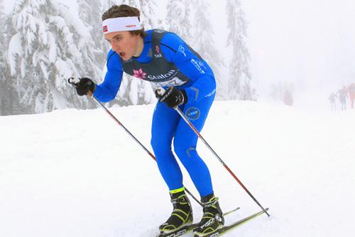 Petter Reistad på vei mot 2. plass på 10 km klassisk i klassen 19/20 år under Nybygdas norgescuprenn på Sjusjøen i januar i år. Foto: Erik Borg.