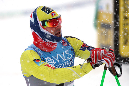 Øystein Pettersen falt i sprintprologen under NM del 1 i Lillehammer 2014. Han greide ikke å kvalifisere seg. Foto: Geir Nilsen/Langrenn.com.