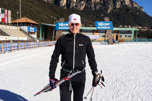 Swix er på plass i Trentino og klare for Marcialonga, her representert ved deres Jarle Kvamme. Foto: Swix.