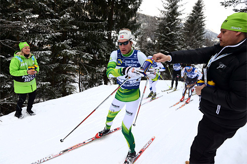 Simen Østensen på vei mot seier i Marcialonga 2014. Foto: Rauschendorfer/NordicFocus.