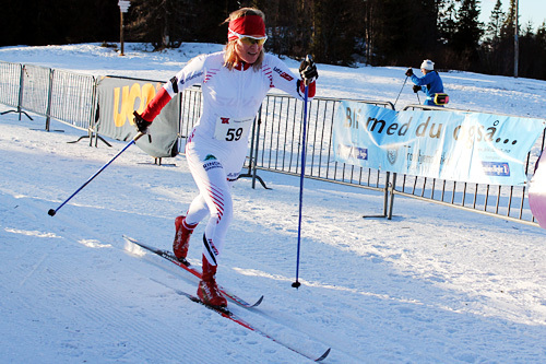 Gunvor Landsem underveis i Markatrimmen 2014. Hun gikk i mål til seier. Foto: Gaute Myhre.