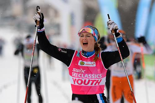 Tuva Toftdahl Staver gikk noen langløp for Team Coop foregående sesong. Her jubler hun inn til andreplass i König Ludwig Lauf. Foto: Rauschendorfer/NordicFocus.