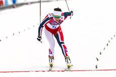 Maiken Caspersen Falla inn til overbevisende seier i sprintprologen under Sotsji-OL 2014. Foto: NordicFocus.