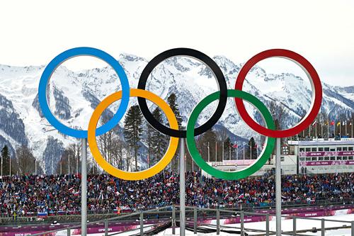 De olympiske ringer under Sotsji-OL 2014. Foto: NordicFocus.