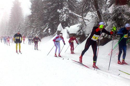 Vester-Gyllen 2014 er i full gang, og her er det eliteklassen som legger i vei i det 40 km lange og tradisjonsrike turrennet i Asker. Foto: Svein Granerud.