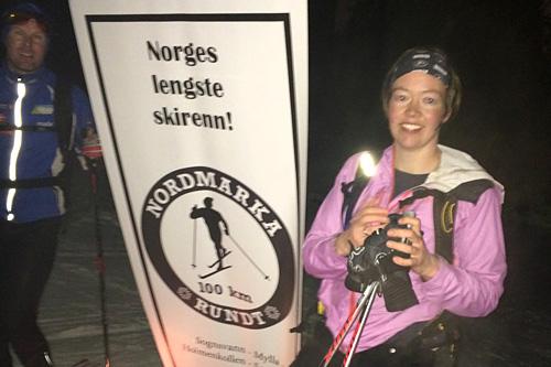 Gro Siljan Hjukse var raskeste dame i det over 100 kilometer lange Nordmarka Rundt 2014. Foto: Thorkild Gundersen/Nordmarka Rundt.