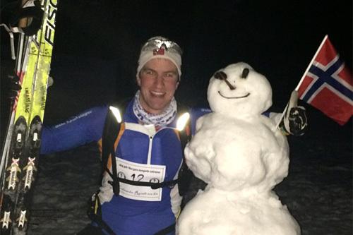 Med litt utfordringer rundt veivalget fikk Hans Alexander Mangen en ekstra runde på 10 kilometer, slik at hans totale distanse ble 117 kilometer i Nordmarka Rundt 2014. Foto: Thorkild Gundersen.