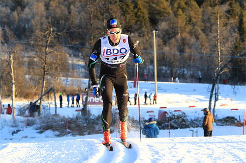 Øyvind Moen Fjeld ute 15 km klassisk i Beitosprinten 2013. Foto: Erik Borg.