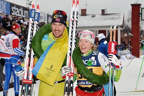 John Kristian Dahl fra Team United Bakeries og Laila Kveli fra Team Centric, vinnere av Vasaloppet 2014. Foto: Madshus.