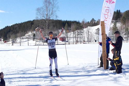 Mathias Rundgreen inn til seier i Rindølrennet 2014. Arrangørfoto.