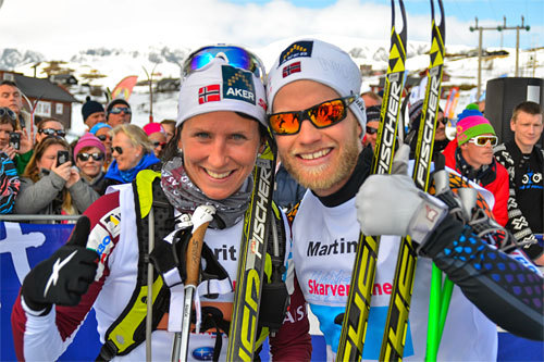 Vinnere av Skarverennet 2013, Marit Bjørgen og Martin Johnsrud Sundby. Arrangørfoto.
