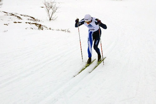 Petter Northug jr. på vei mot seier i Hessdalsrennet 2014. Foto: Arne Moholdt.