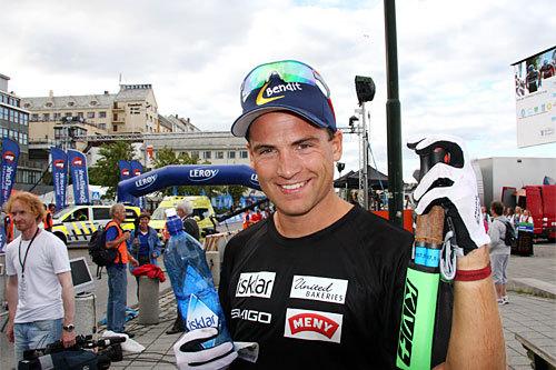 Niklas Dyrhaug etter sitt gode renn i Kristiansund som ga 3. plass under åpningsrennet av Toppidrettsveka 2014. Foto: Geir Nilsen/Langrenn.com.