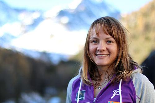 Maiken Caspersen Falla på samling med skilandslaget i Italia og Val Senales. Foto: Birk Eirik Fjeld.