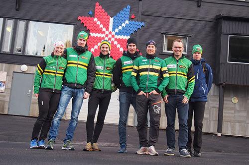 Arrangementskomiteen i Marka Rundt ved f.v: Ingeborg Røe, Jon-Brede Dieseth, Markus Glad, Sindre Grøstad, Erlend Sverdrup, Odd Eirik Farestveit og Frode Hallberg. Foto: Marka Rundt.