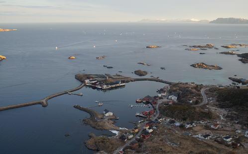 Bilde av Stø havn tatt høyt oppe med flytekaiene i midten.