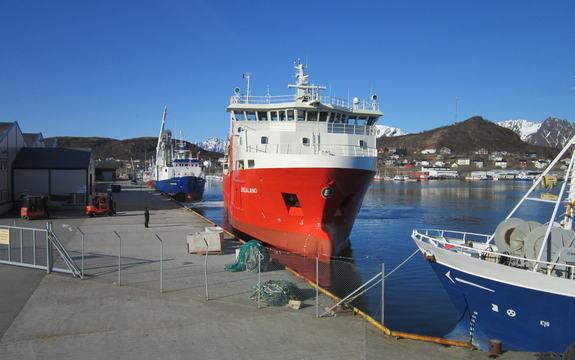 Rød båt med kai på Myre