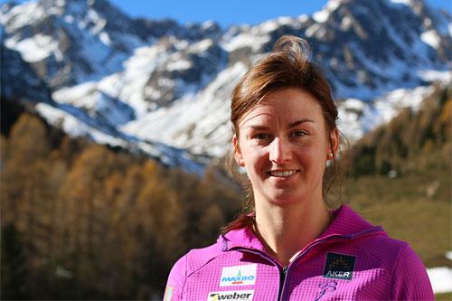 Celine Brun-Lie på samling med skilandslaget i Val Senales høsten 2014. Foto: Birk Eirik Fjeld.
