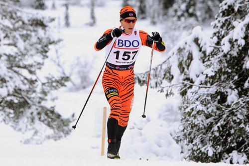 Petter Eliassen på vei mot femteplass på 15 km klassisk i Beitosprinten 2014. Foto Erik Borg.
