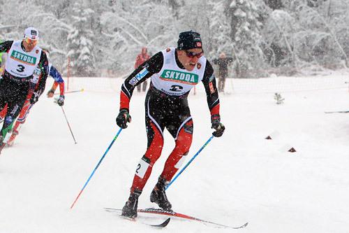 Pål Golberg i semifinalen under Beitosprintens klassiske sprint 2014. Golberg kvalifiserte seg til finalen, der han endte på fjerdeplass. Foto: Erik Borg.