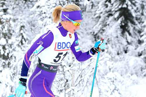 Kathrine Harsem underveis på 10 km klassisk i Beitosprinten 2014. Foto: Erik Borg.