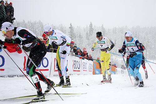 Illustrasjonsbilde. Fra venstre: Ola Vigen Hattestad, Petter Northug, Johan Kjølstad og Sondre Turvoll Fossli. Foto: Geir Nilsen/Langrenn.com.