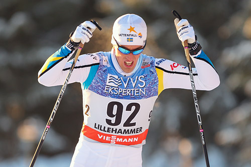 Calle Halfvarsson er tilbake på det svenske laget til verdenscupen i Davos kommende helg etter en sykdomsperiode. Han går kun sprintrennet i Sveits. Foto: Laiho/NordicFocus.