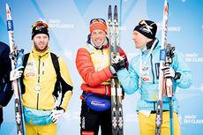 Anders Aukland overbeviste nok en gang da han gikk til topps i det 35 km lange La Sgambeda 2014. Til venstre rennet toer, Johan Kjølstad, og på høyre kant Øystein Pettersen som ble nr. 3. Foto: Swix Ski Classics.