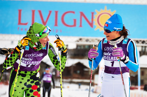 Seraina Boner (til høyre) avgjorde La Sgambeda 2014 til sin fordel, foran damen ved sin side, Katerina Smutna. Foto: Felgenhauer/NordicFocus.
