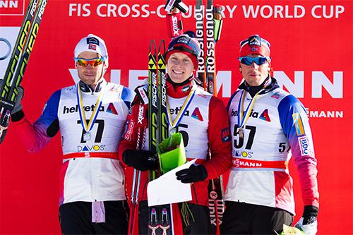 De tre beste gutta på 15 km fri under verdenscupen i Davos forrige vinter. Fra venstre: Petter Northug jr. (2), Anders Gløersen (1) og Chris Jespersen (3). Foto: Laiho/NordicFocus.