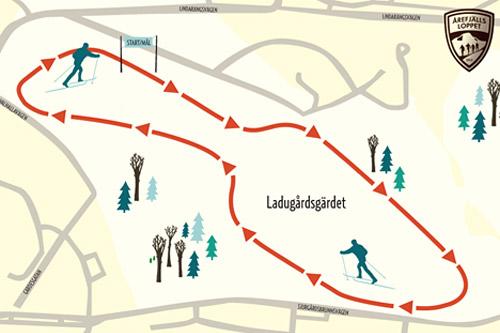 Løypekart for Stockholms Skidspår.