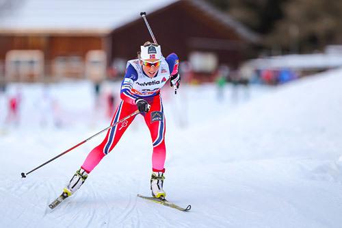 Maria Strøm Nakstad underveis i verdenscupen i Davos like før jul 2014. Foto: Laiho/NordicFocus.