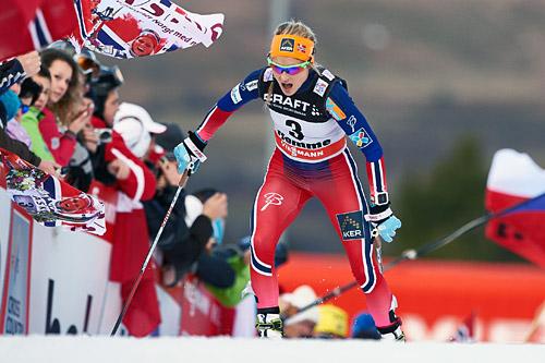 Therese Johaug hadde beste etappetid opp monsterbakken Alpe Cermis og endte på andreplass i Tour de Ski 2015 totalt. Foto: Felgenhauer/NordicFocus.