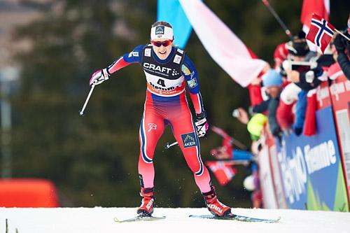 Ragnhild Haga fra rekruttlandslaget leverte strålende i Tour de Ski 2015 og endte som nummer fire sammenlagt. Foto: Felgenhauer/NordicFocus.