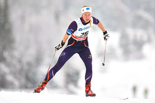 Silje Øyre Slind ute på prolog i fristilssprinten under verdenscupen på Lillehammer 2014. Foto: Felgenhauer/NordicFocus.