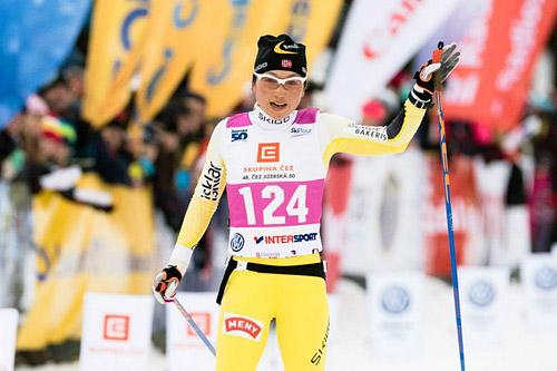 Masako Ishida inn til 2. plass i Jizerska 2015. Foto: Magnus Östh/Swix Ski Classics.