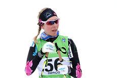 Kristin Størmer Steira har her sikret seg 5. plass under NM på Røros, distansen var 10 km fri teknikk. Foto: Geir Nilsen/Langrenn.com.