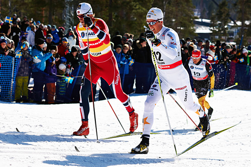 Calle Halfvarsson og Petter Northug under verdenscupen i Falun en tidligere vinter. Foto: Felgenhauer/NordicFocus.