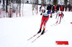 Sondre Turvoll Fossli ute i et av heatene under sprinten i ski-NM på Røros 2015. Til slutt ble han nummer 2. Foto: Geir Nilsen/Langrenn.com.
