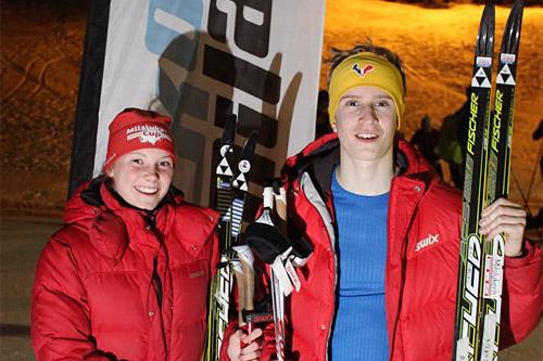 Pia Stangebye og Nicolay Sevang gikk aller raskest i den første utgaven av KollmilaOpp 2015. Arrangørfoto.