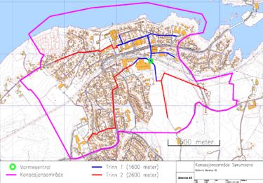kart over Sørumsand i forhold til fjernvarme, konsesjonsområdet og varmesentral