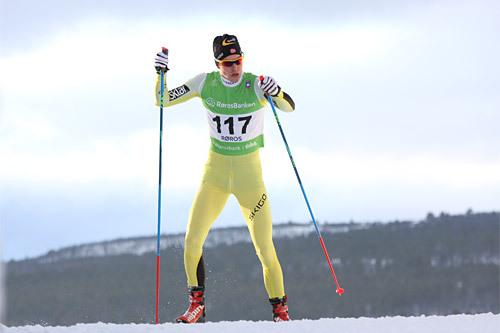 Langløperen Vetle Thyli fra Team United Bakeries og arrangørklubben Raufoss IL er blant de sterkeste kortene i Madshus Skimaraton 2015. Foto: Geir Nilsen/Langrenn.com.