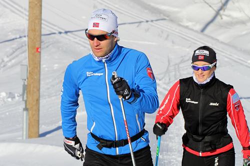 Lars Petter Stormo og kona Trude ute på trening i Montebelloløypene februar 2015. Foto: Montebellotrippelen.