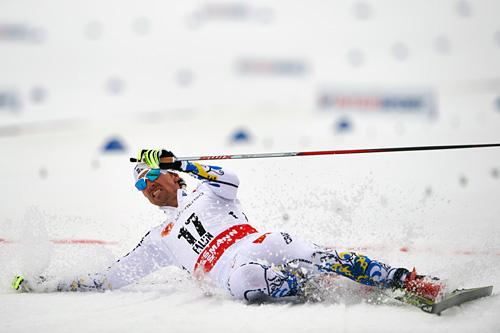 Johan Olsson tok ut alt på 15-kilometeren under VM i Falun 2015 og gikk inn til gull. Foto: NordicFocus.