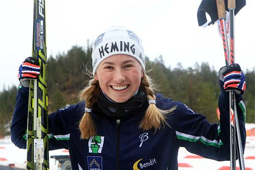 Martine Engebretsen gikk til topps på 5 km klassisk under Junior-NM i Hommelvik 2015. Foto: Erik Borg.