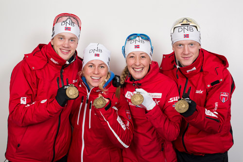 Norges bronselag på mix-stafetten under VM i Kontiolahti 2015. Fra venstre: Tarjei Bø, Tiril Eckhoff, Fanny Welle-Strand Horn og Johannes Thingnes Bø. Foto: NordicFocus.