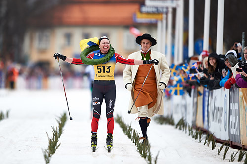 Justyna Kowalczyk inn til seier i Vasaloppet 2015. Foto: Felgenhauer/NordicFocus.