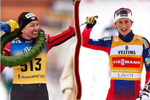 Justyna Kowalczyk på vei mot mål som vinner av Vasaloppet 2015, nesten samtidig med at Marit Bjørgen tok seieren på 10 km klassisk i Lahti. Foto: Felgenhauer (Kowalczyk) og Laiho (Bjørgen)/NordicFocus.