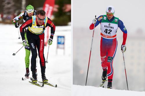 To av de største profilene i aksjon forrige helg, Anders Aukland (t.v.) i Vasaloppet og Petter Northug under verdenscupen i Lahti. Fotomanipulasjon - Foto: Felgenhauer (Anders Aukland) og Laiho (Petter Northug)/NordicFocus.